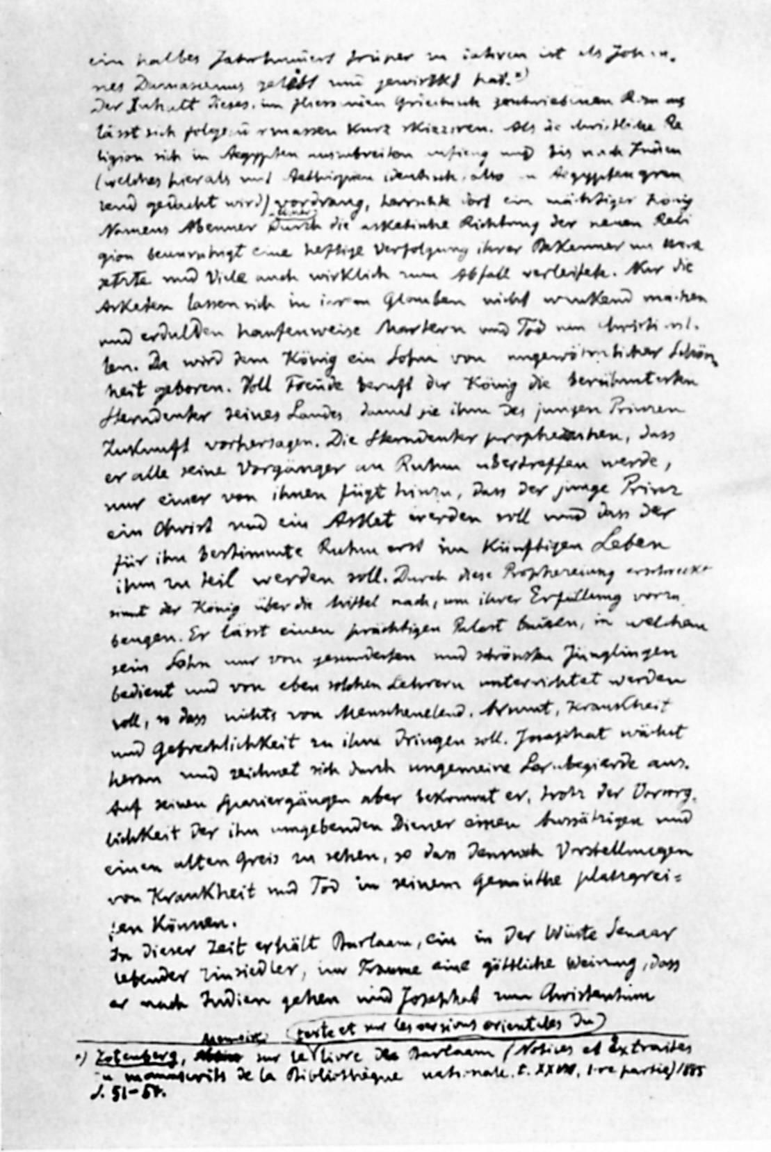 Сторінка німецького рукопису дисертації І.Франка «Варлаам і Йоасаф» (1896 р.)