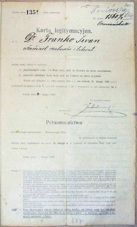 1905 Election card - document of I.…