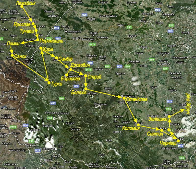 Карта Google зі схемою мандрівки