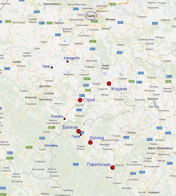 Карта Google зі схемою роману